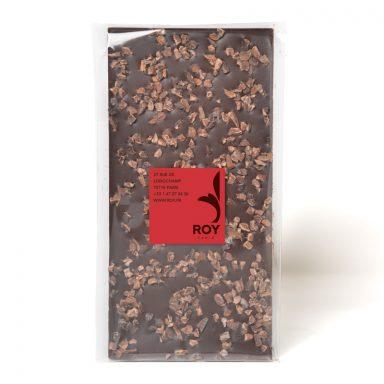 Tablette de chocolat noir 70% et éclats de fèves de cacao