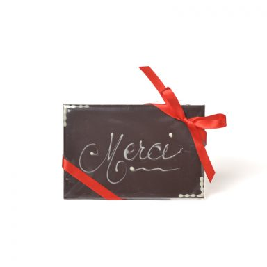 Plaque message « Merci » au chocolat noir – 50 g