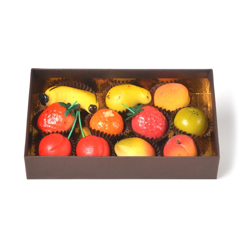 Pâte d'amande modelages fruits – coffret de 11 pièces