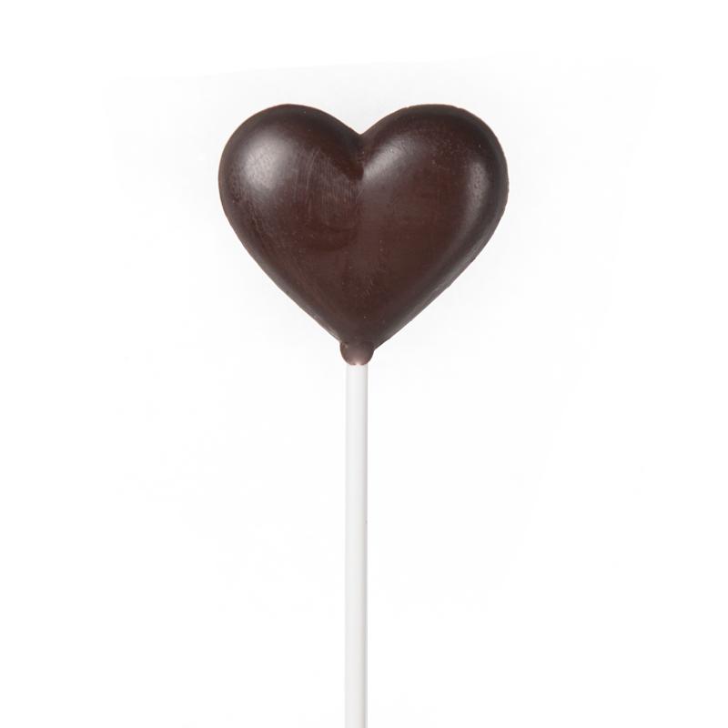 """Sucette """"coeur"""" en chocolat noir"""