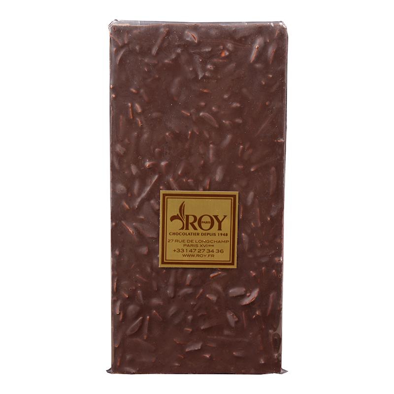 Tablette de chocolat noir sans sucre et amandes