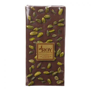 Tablette de chocolat noir sans sucre et pistaches d'Iran