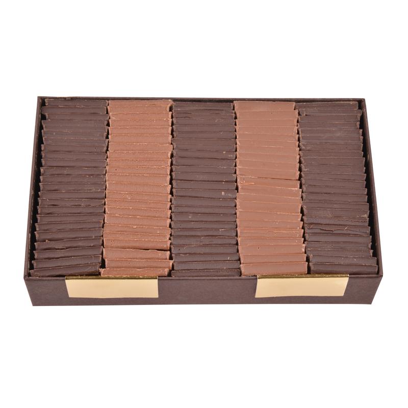 Carrés de chocolat dégustation sans sucre noir et lait - boîte de 340 g
