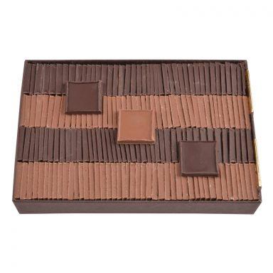 Carrés de chocolat dégustation sans sucre noir et lait - boîte de 550 g
