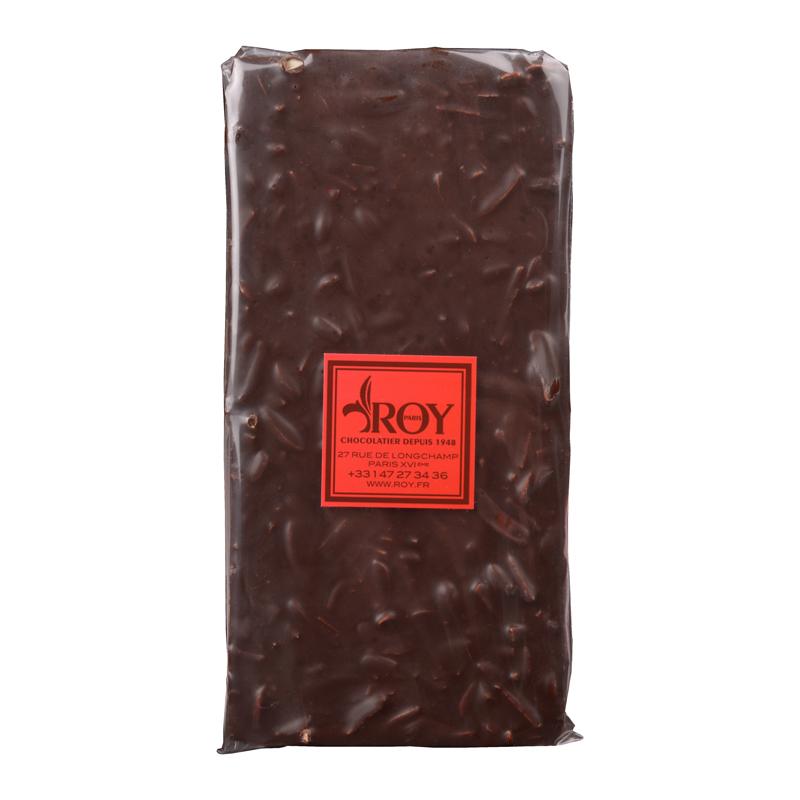 Tablette de chocolat noir 70% et amandes