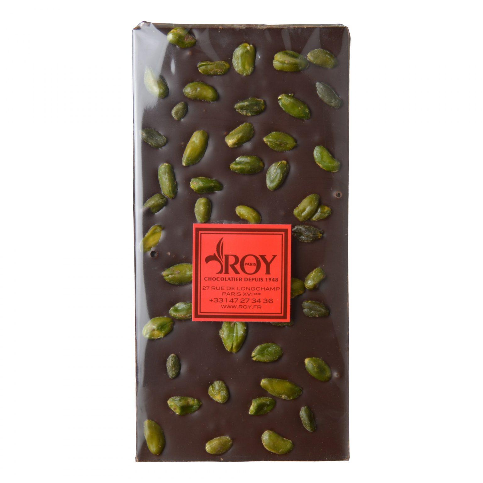 Tablette de chocolat noir 70% et pistaches d'Iran