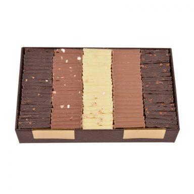 Carrés chocolat dégustation – assortiment 5 saveurs – coffret de 340g