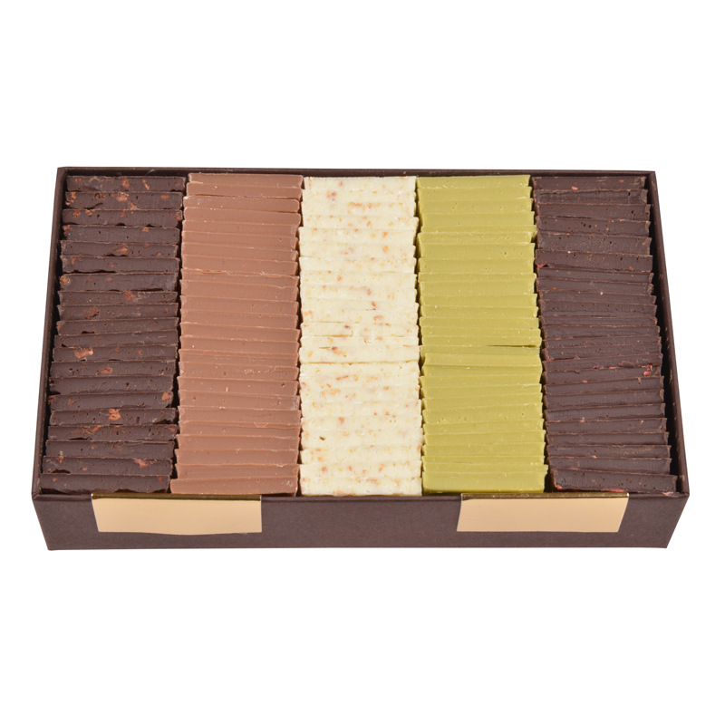 Carrés chocolat dégustation – assortiment 5 saveurs exotiques – coffret de 340g