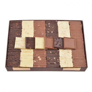 Carrés chocolat dégustation – assortiment 6 saveurs – coffret de 550g