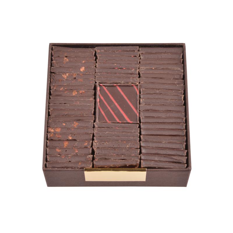 Carrés chocolat dégustation – assortiment noir intense – coffret de 200g