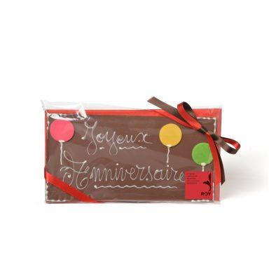 Plaque message « Joyeux Anniversaire » au chocolat au lait