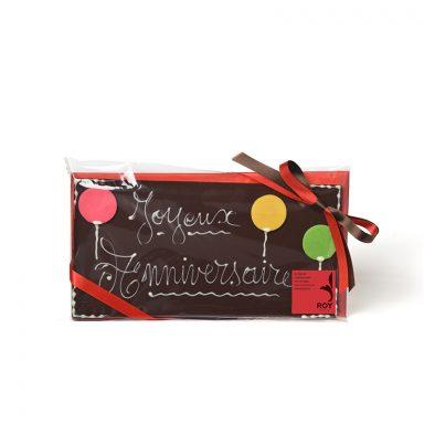 Plaque message « Joyeux Anniversaire » au chocolat noir
