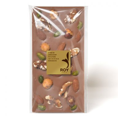 Tablette de chocolat au lait sans sucre et 4 fruits secs