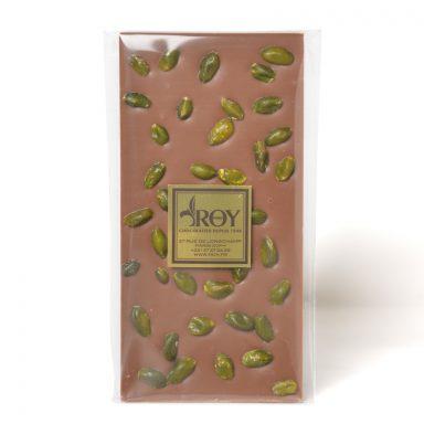 Tablette de chocolat au lait sans sucre et pistaches d'Iran